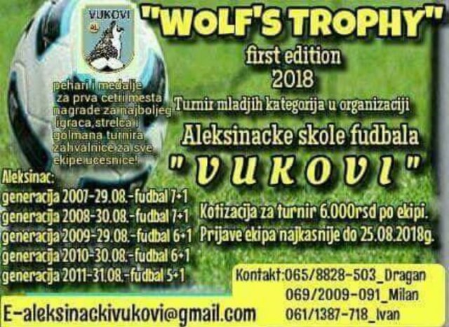 "Trodnevni turnir u fudbalu ""Wollfs trophy first edition 2018"""