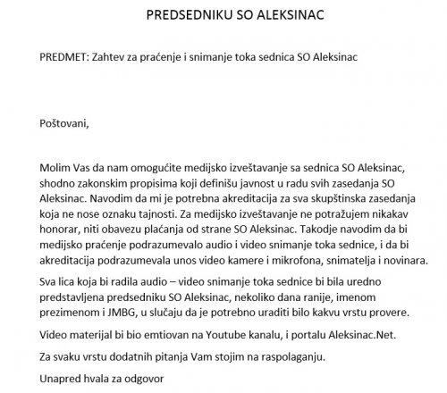 Aleksinac Net podneo zahtev za snimanje i praćenje skupštinskih zasedanja