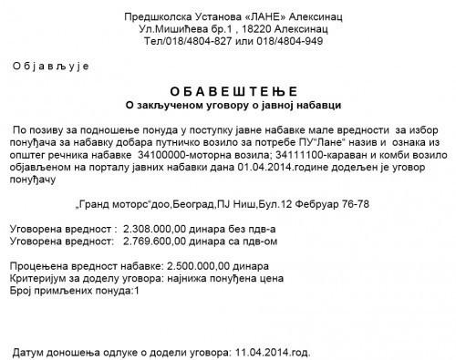 И за Лане ново возило - 25.000 евра