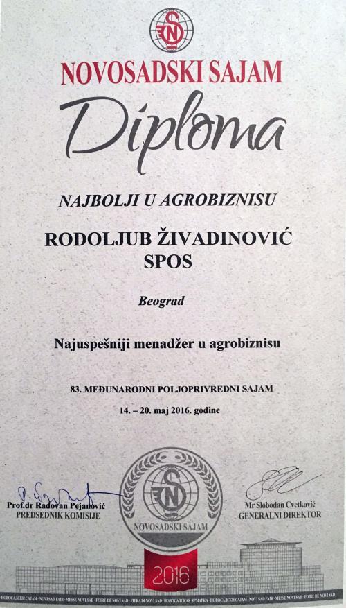 Живадиновић добитник престижног признања Пољопривредног сајма у Новом Саду