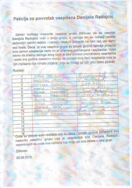 Peticija roditelja žitkovačkih predškolaraca