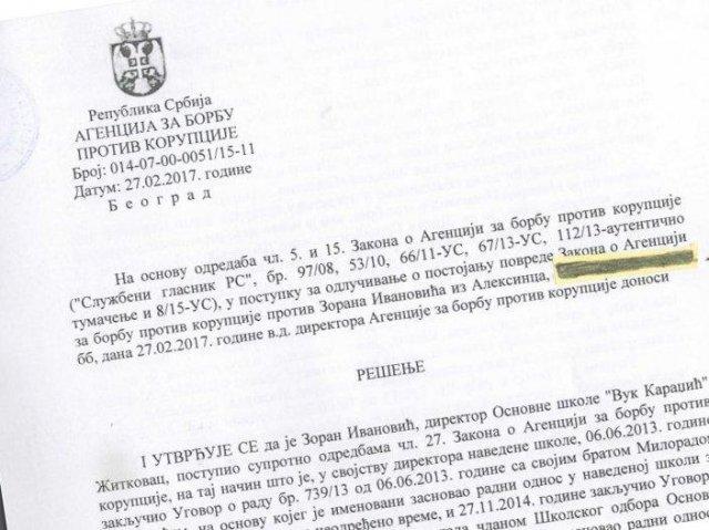 Агенција тражи смену директора школе из Житковца