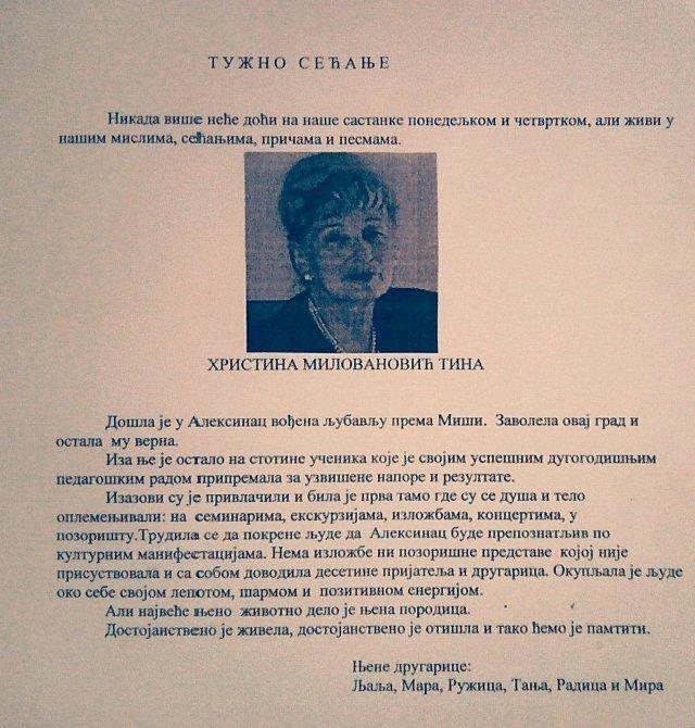 In memoriam: Hristina Milovanović