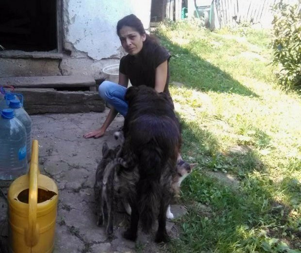 Марија Савић у дворишту са кућним љубимцима
