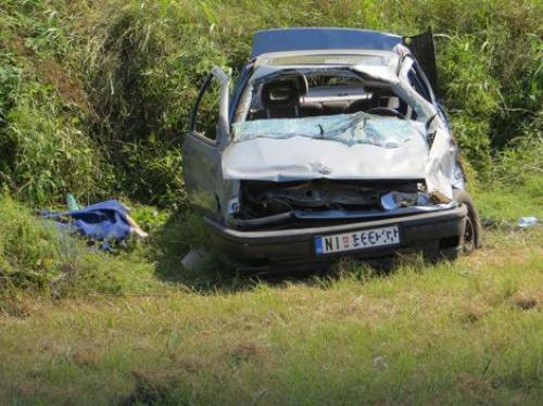 Uništen automobil posle udesa Foto: B. Janačković / RAS Srbija