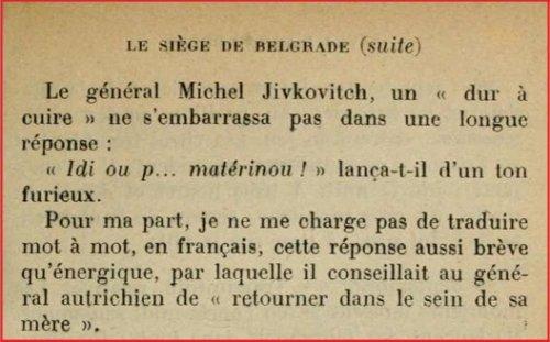 Odgovor generala Živkovića (Iz knjige Avec l'Armée Serbe)