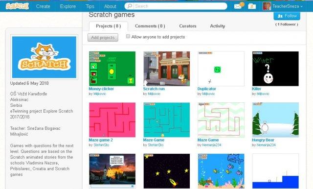 Игрице које су ученици креирали у Scratch програму