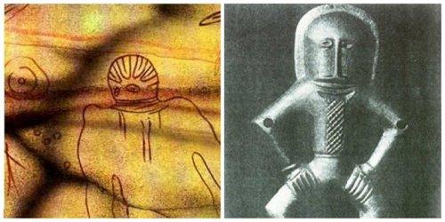 Широм света стари цртежи астронаута у скафандерима