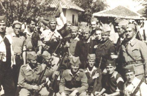 Витошевац,  мај 1944. године. Штабна чета Делиградског корпуса. У доњем реду (чучи) Бранислав Станковић Муша из Алексинца, до њега је Ранко Радосављевић из Алексинца и трећи је Дренић из Претрковца код Ражња.