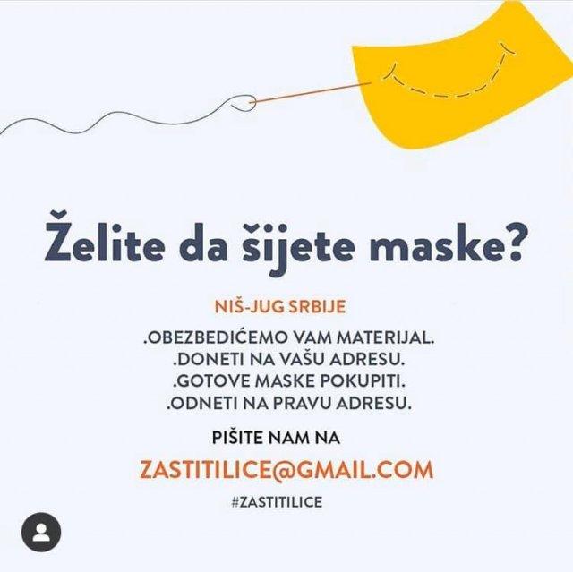 Иницијатива за шивење маски за медицинске раднике на југу Србије